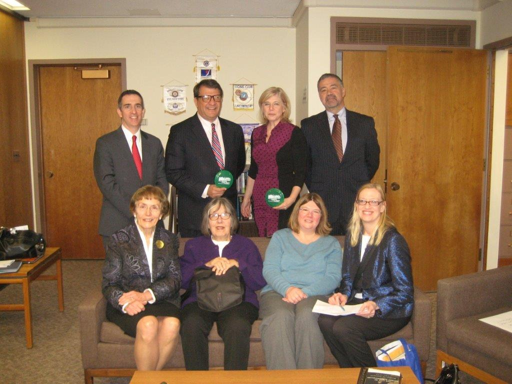 Pictured: Back Row (L-R): Robert Cartolano, President, Eastchester Public Library; Senator George Latimer, 37th District; Haina Just-Michael, President, New Rochelle Public Library; Tom Geoffino, Director, New Rochelle Public Library; Front Row (L-R): Patricia Fontanella, Trustee, Westchester Library System & Library Trustees Association of New York State; Sue Neale, Trustee, Westchester Library System; Pam Bernstein, Librarian, Irvington Public Library; Elise Burke, Executive Assistant, Westchester Library System