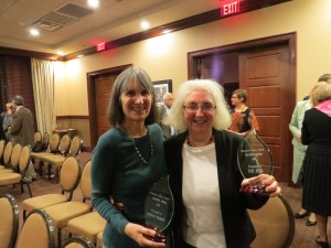 Barbara Morrow, President of the Friends of the Hastings-on-Hudson Public Library, and Sue Feir, Director, Hastings-on-Hudson Public Library, Co-Winners of the 2014 WLS Trustees Award
